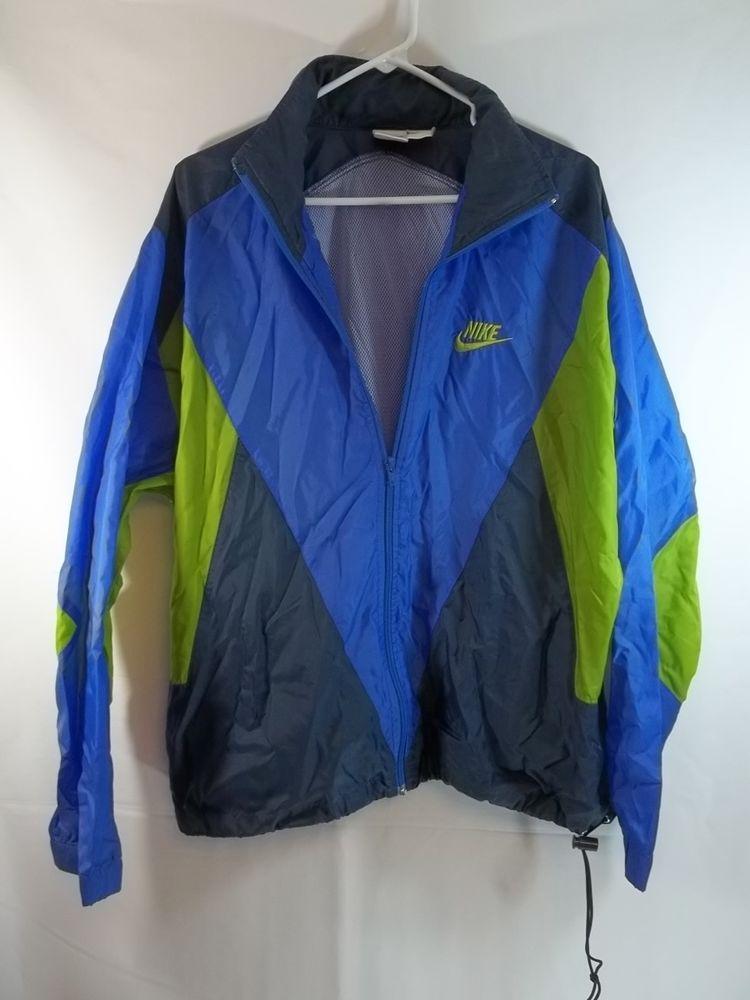 405326106 Nike Jacket L Vintage Windbreaker Mesh Lined Full Zip Vented Back ...