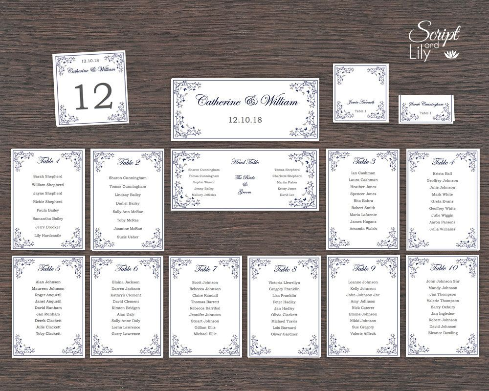 Navy Butterfly Seating Chart, Table Numbers & Place Card Template ...
