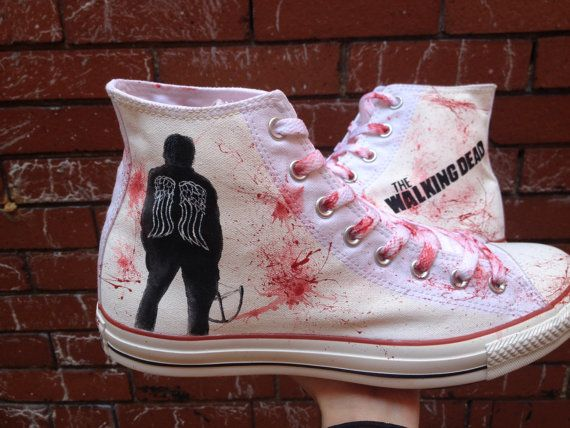 cd6fa0ca30f238 The Walking Dead Inspired Converse High Tops. Daryl by HJArtistry ...