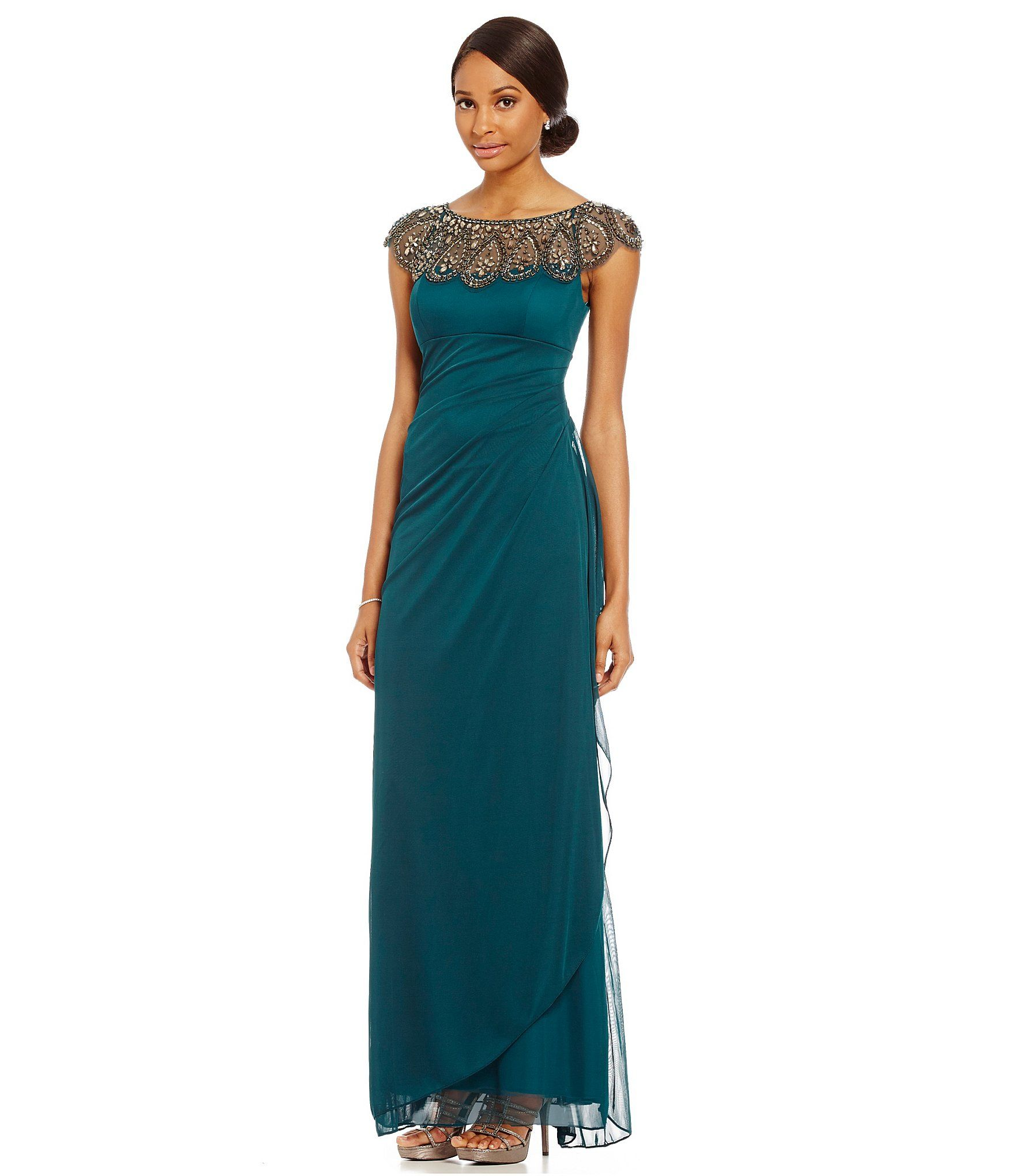 a69bdba7183 Xscape Beaded Illusion Neck Ruched Gown