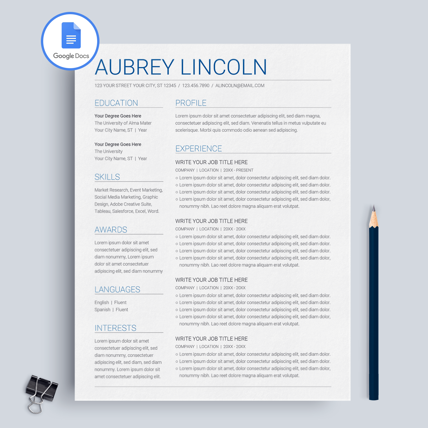 Free Letterhead Templates For Google Docs And Word: Google Docs Resume Template