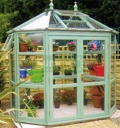 Painted cedar octagonal greenhouse 586 toughened glass for Octagonal greenhouse plans