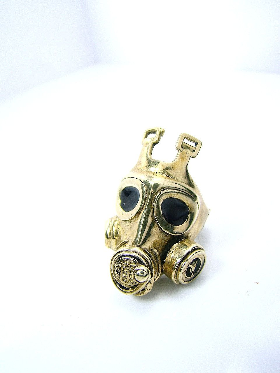 Gas Mask Ring In Brass with an oxidized antique gold color design by Mafia Studio