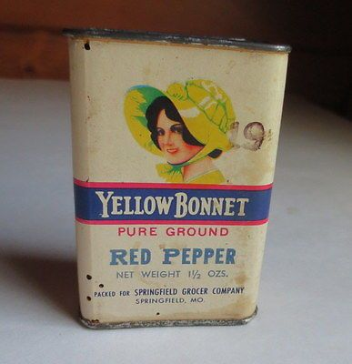 VINTAGE-YELLOW-BONNET-GIRL-SPICE-TIN-RED-PEPPER-CARDBOARD