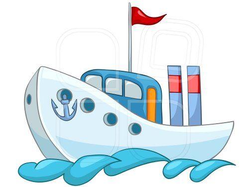 Caricatura De Barco Azul Fondo Blanco Bandera Roja Barcos