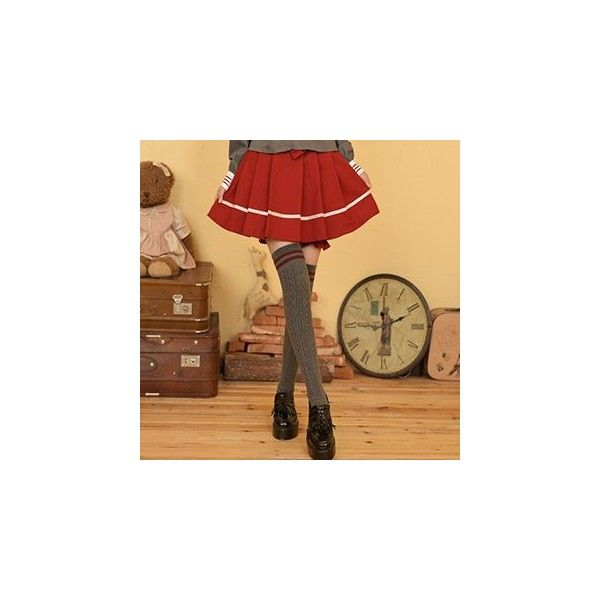 Bow Accent Pleated Skirt (€20) ❤ liked on Polyvore featuring skirts, women, brown pleated skirt, cotton skirt, pleated skirt, brown cotton skirt and bow skirt