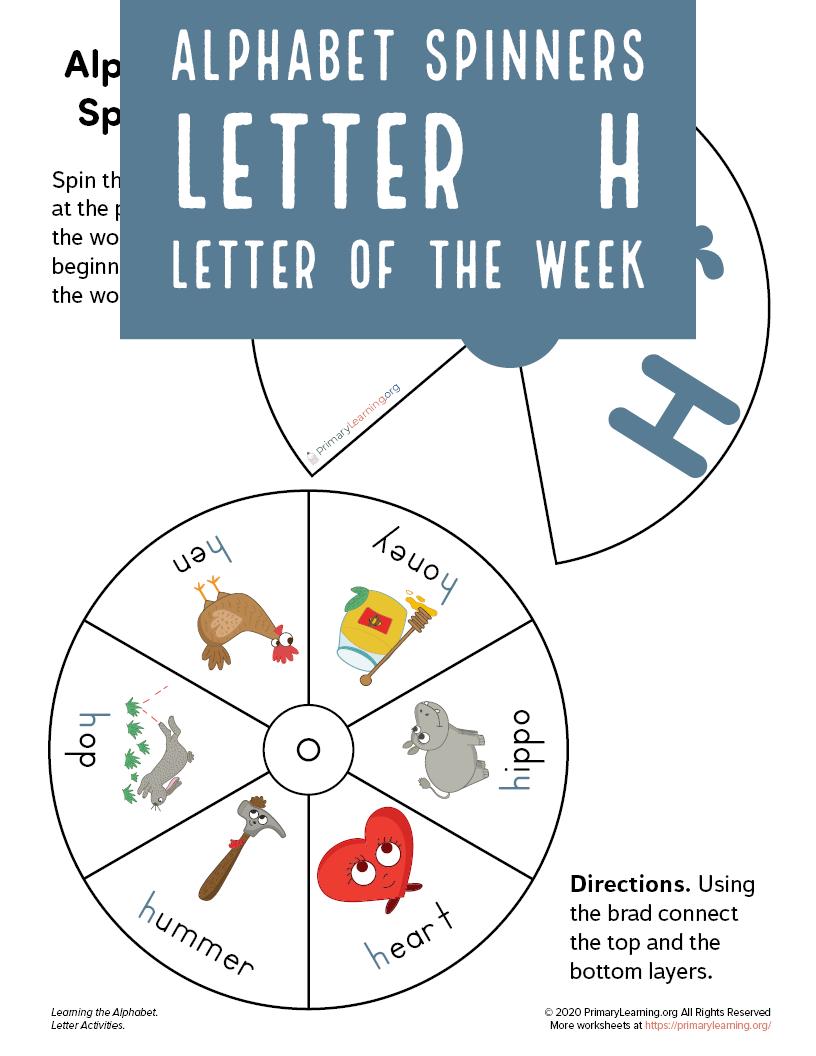 Letter H Wheel Spinner Primarylearning Org Lettering Toddler Quiet Book Alphabet Worksheets [ 1056 x 816 Pixel ]