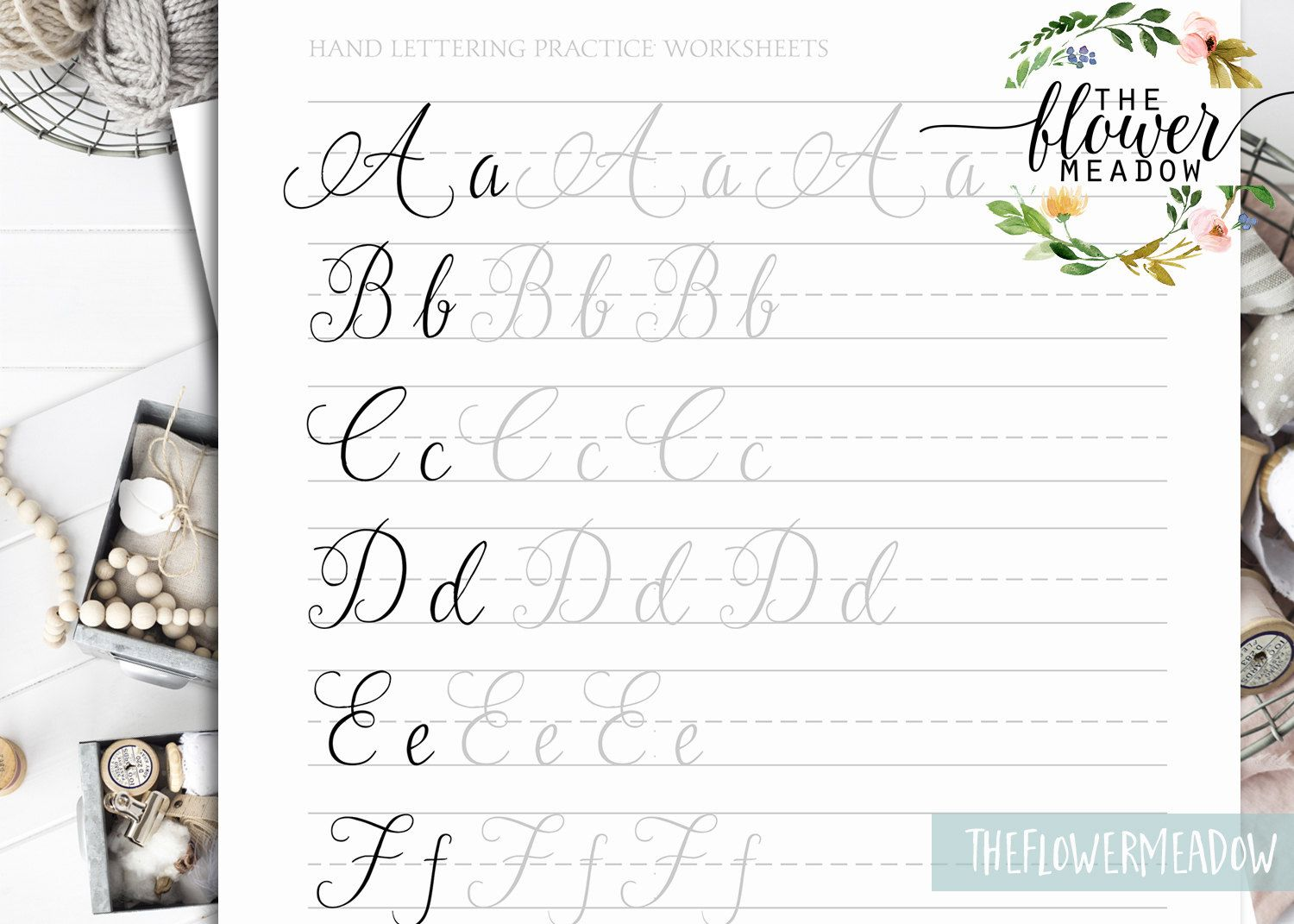 Calligraphy Tutorial Learn Hand Lettering Guide Modern Worksheets Practice Wedding Brush Alphabet 07 By TheFlowerMeadow