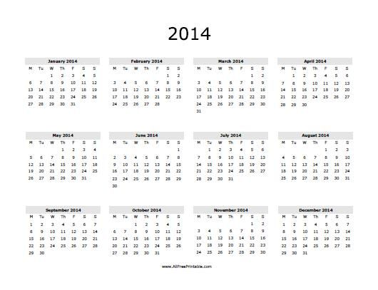 2014 print yearly calendar 2014 calendar projects to try