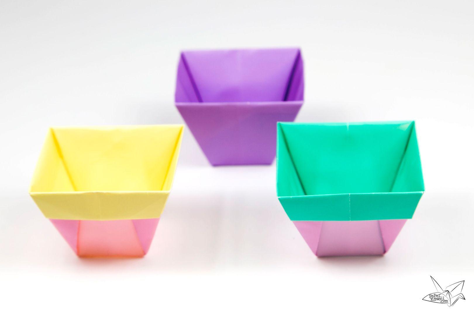 Tapered Origami Box Origami Plant Pot Tutorial Origami Boxes