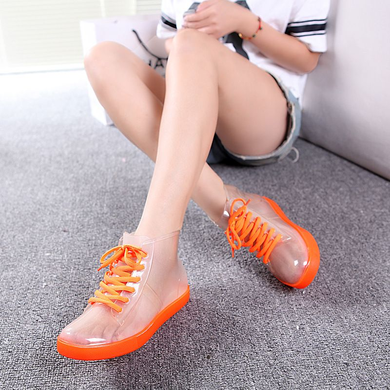 CuddlyIIPanda 2017 Women Rain Boots Leisure Summer Boots Waterproof  Transparent Boots Jelly Shoes Fashion Botas Mujer