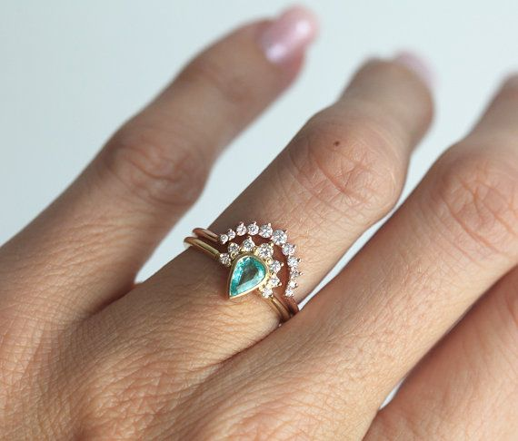Paraiba Tourmaline Engagement Ring Set   Non Diamond Engagement Rings   Engagement  Rings Without Diamonds