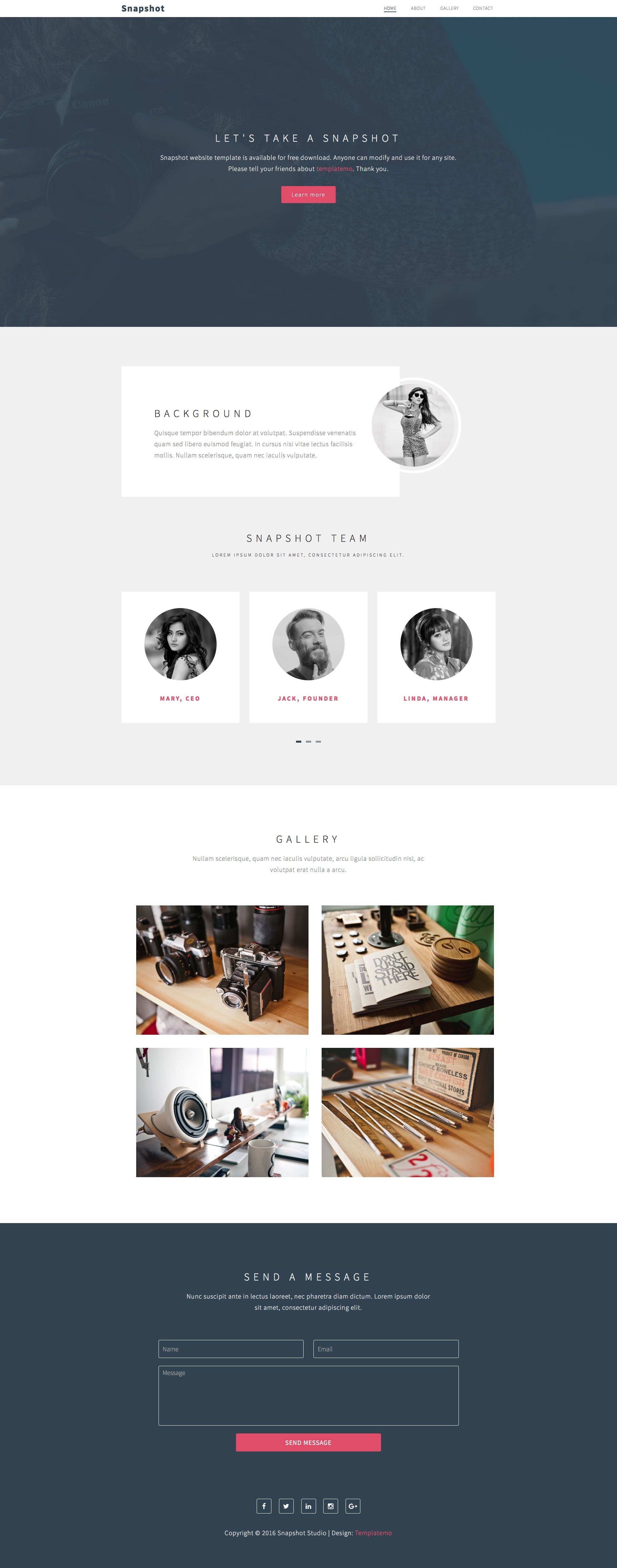 Snapshot Is A Free Html5 Landing Page Template Includes 4 Content Sections Background Images With Zoom Effect Carousel For Web Design Gallery Snapshots Html5 Html5 landing page template free