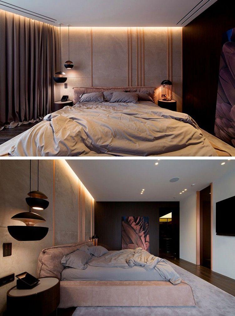 Schlafzimmer Design Kupfer Akzente Röhre Wand Indirekte Beleuchtung  #innendesign #design #interior #apartment