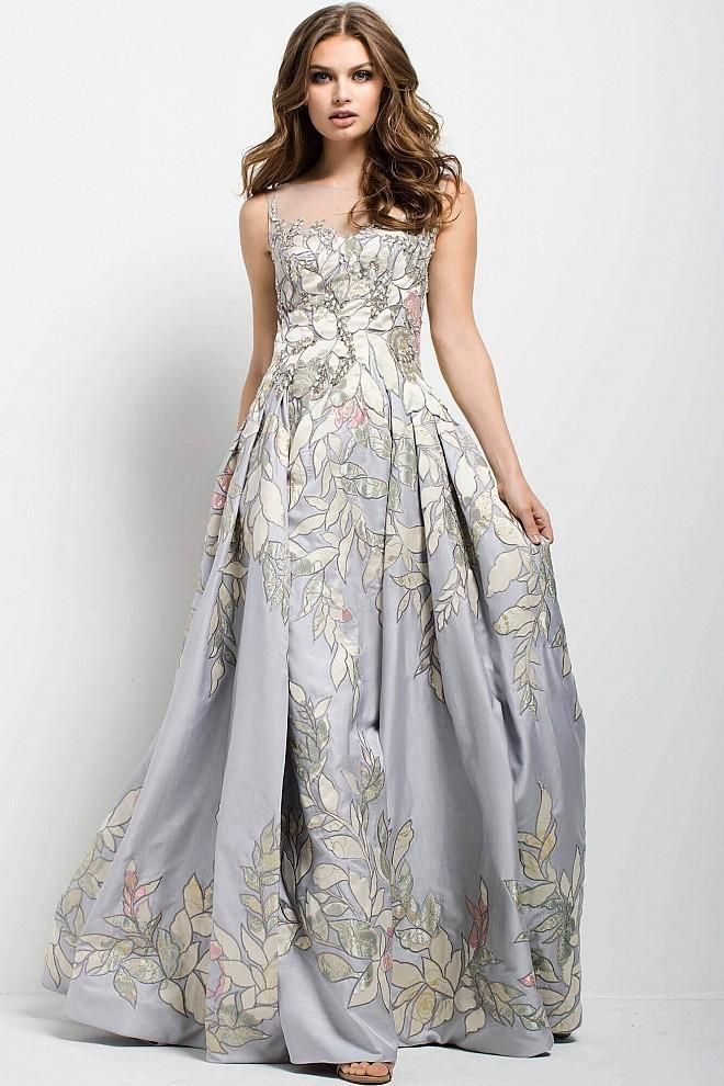 2f3fb1ee2f48 Jovani - 54403 Leaves Illusion Patterned Evening Gown
