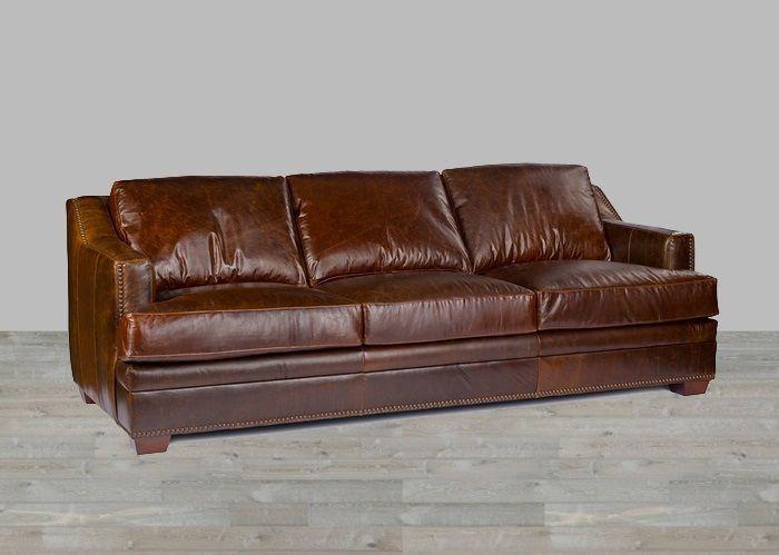 Antique Brown Leather Sofa 100 Top Grain Nailhead Trim Down Blend Restoration Restoration Leather Sofa Full Grain Leather Sofa Brown Leather Sofa