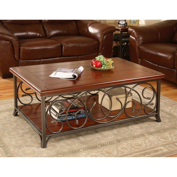 Scrolled Metal and Wood Coffee Table - Overstock Shopping ...
