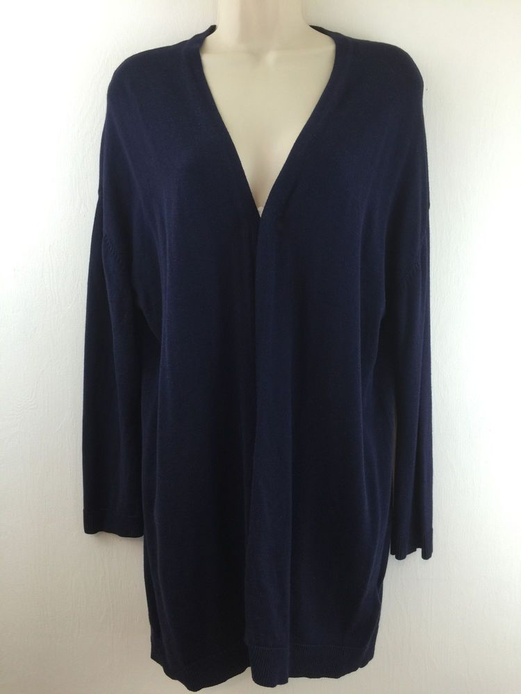 Basic H&M Womens M Open Cardigan Navy Blue Viscose Cotton Light ...