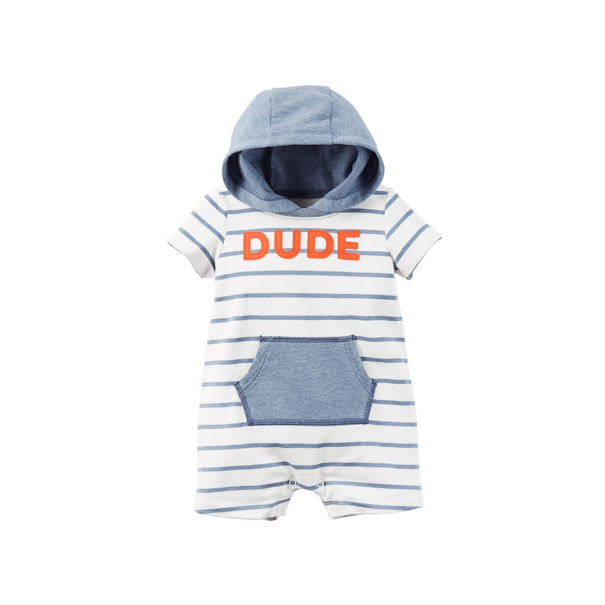 Baby Boy Carter s Striped Hooded Romper Size Newborn Med Blue
