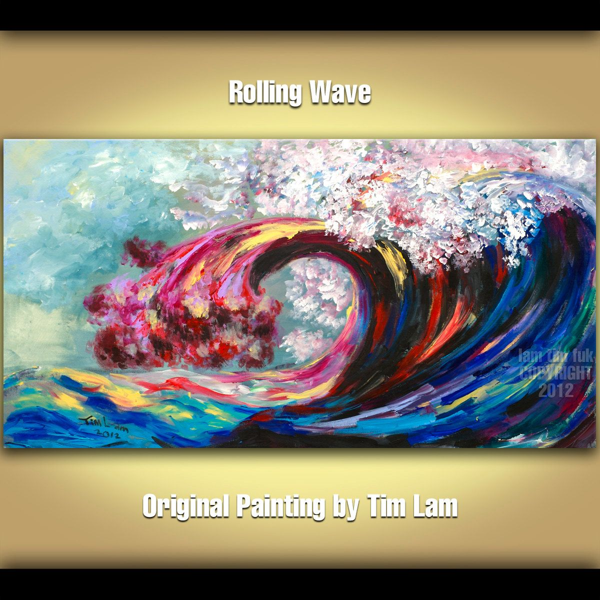 Original Large Modern Rolling Wave Art Abstract Painting Landscape Canvas