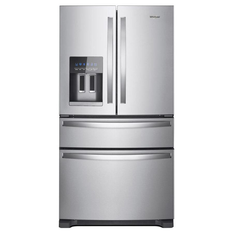 Whirlpool 24 5 Cu Ft 4 Door 36 In French Door Refrigerator With Exterior Ice And Water Dispenser Fingerprint Resistant Stainless Steel Lowes Com French Door Refrigerator Stainless Steel French Door Refrigerator Refrigerator Whirlpool