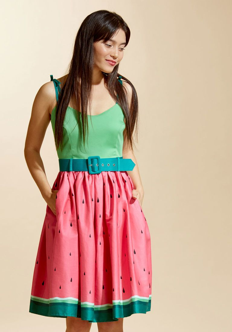 00a40e8d2 1950s Vintage Inspired Timeless Fit and Flare Dress in Watermelon $89.99 AT  vintagedancer.com