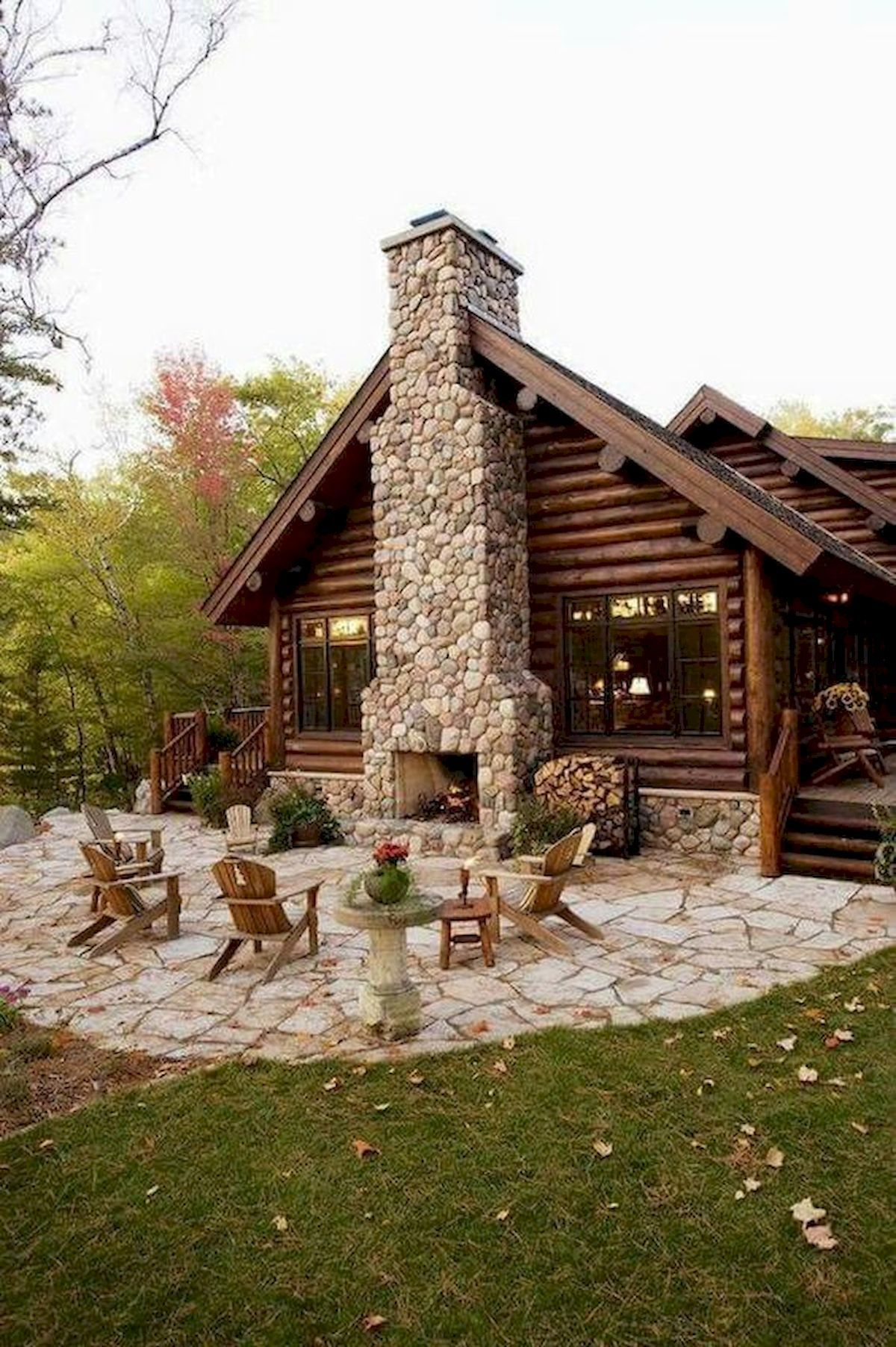 60 Stunning Log Cabin Homes Fireplace Design Ideas #logcabinhomes
