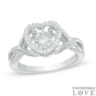 Zales 1/10 CT. T.w. Diamond Twist Heart Ring in Sterling Silver hJ2tgU6