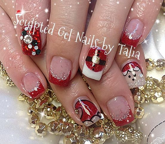 Hand Painted Christmas Nail Art: Photo: First Christmas Nails Of The Year!!! Santa Themed