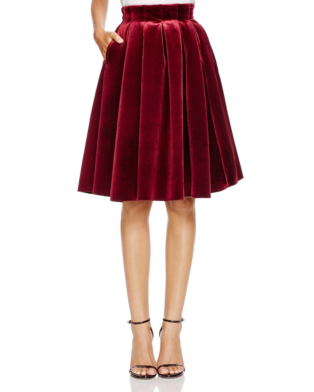 65122ef561e Maje Janice Velvet Pleated Skirt   Bloomingdale s   Velvet Fashion ...