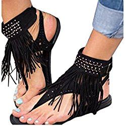 New Women/'s Summer Sandals Fringe Tassels Flip Flops Ankle Sandal Boots Flats