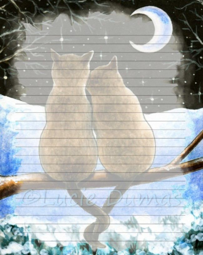 Digital Printable Journal writing lined Page Cat 584 siamese - lined page