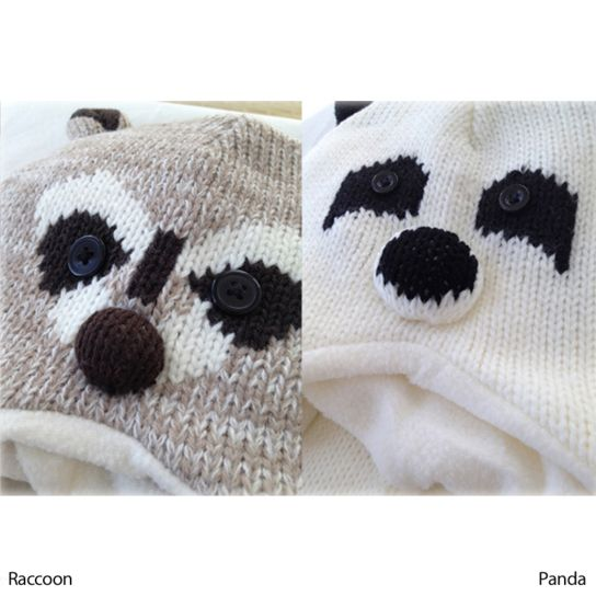 Knitted Animal Beanie with Attached Scarf & Mittens - Panda or Raccoon by Love Kuza. www.lovekuza.com