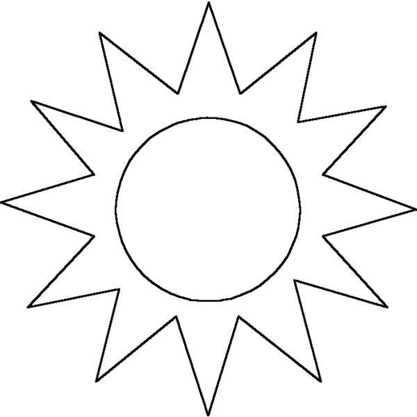 Sun Outline Coloring Page Sun Coloring Pages Moon Coloring