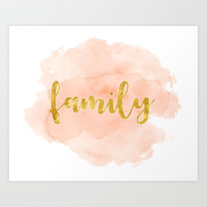 Family Pink And Gold Watercolor Art Print Home Decor Wall Art Word Of The Year Family Art Print Gold Watercolor Family Art Print Watercolor Art