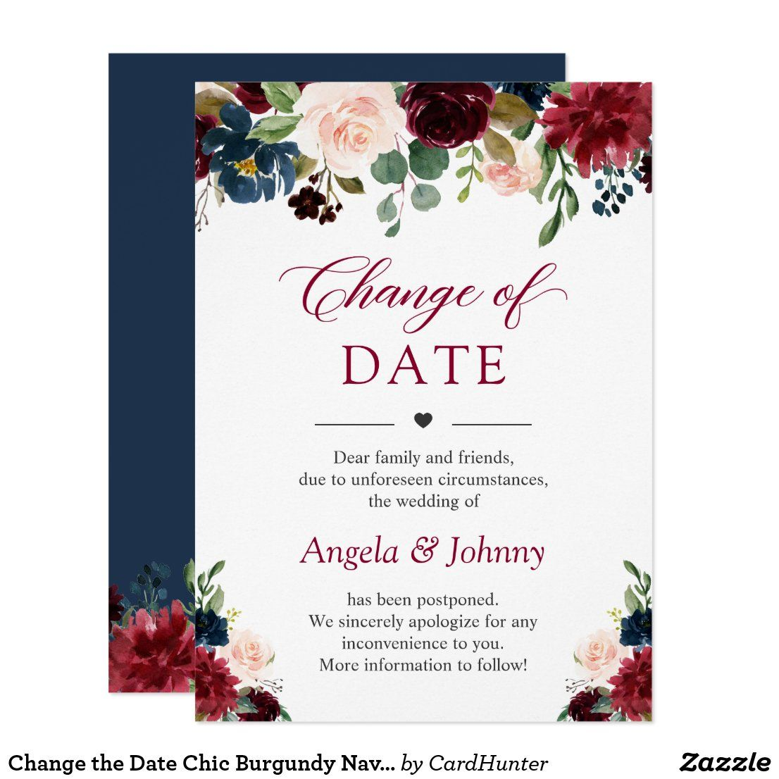 Change the date chic burgundy navy blue flowers invitation