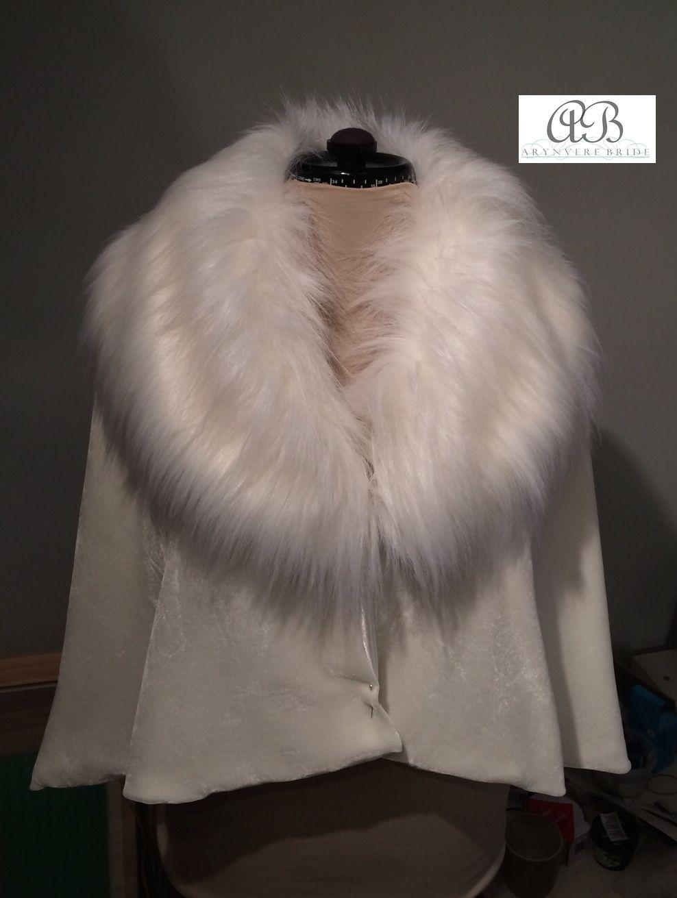 Silk Velvet Cape, Faux Fur Collar, fully lined in bridal satin.  Arynvere Bride www.arynverebride.com #bride #fauxfur #cape #wedding #winterwedding