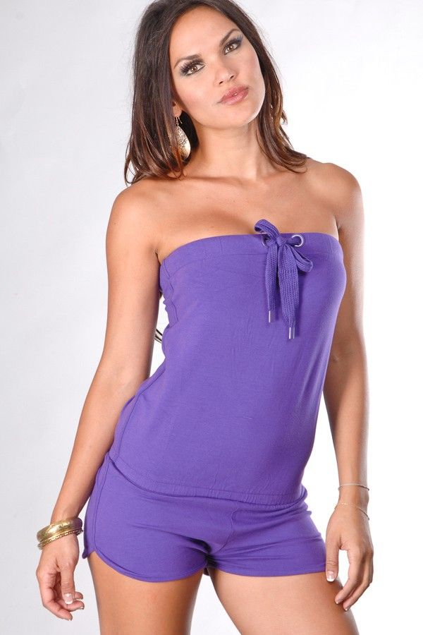 PURPLE STRAPLESS TUBE TOP ONE PIECE ROMPER SHORTS   Short ...