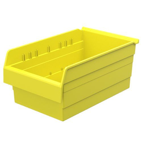 Akromils 30808 Shelfmax 8 Plastic Nesting Shelf Bin Box 18inch X 11inch X 8inch Yellow 4pack With Images Shelf Bins Storage Bins