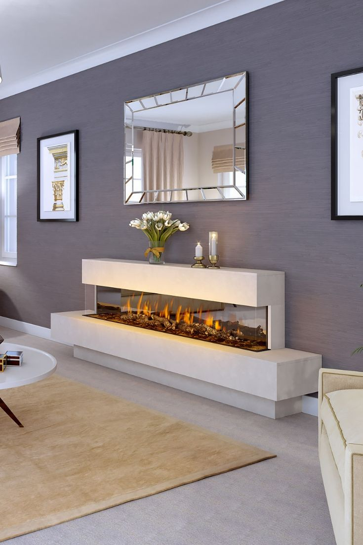 12 Long And Sleek Electric Fireplace Design In 2020 Fireplace