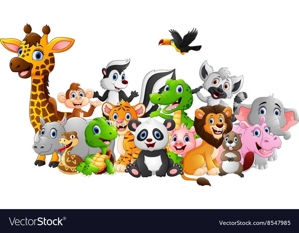 Cartoon wild animals background vector image on สัตว์
