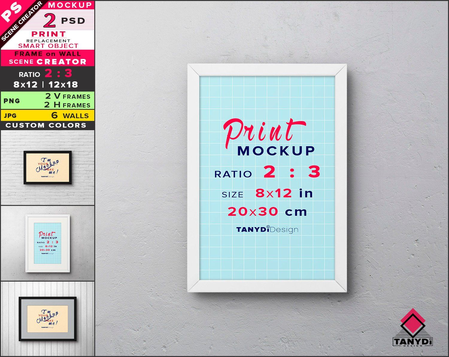 8x12 Frame On Wall Photoshop Print Mockup Vertical Horizontal Png Metal Frame 12x18 Smart Object Mock Up Scene Creator F 23 W 1 Scene Creator Frames On Wall Print Mockup