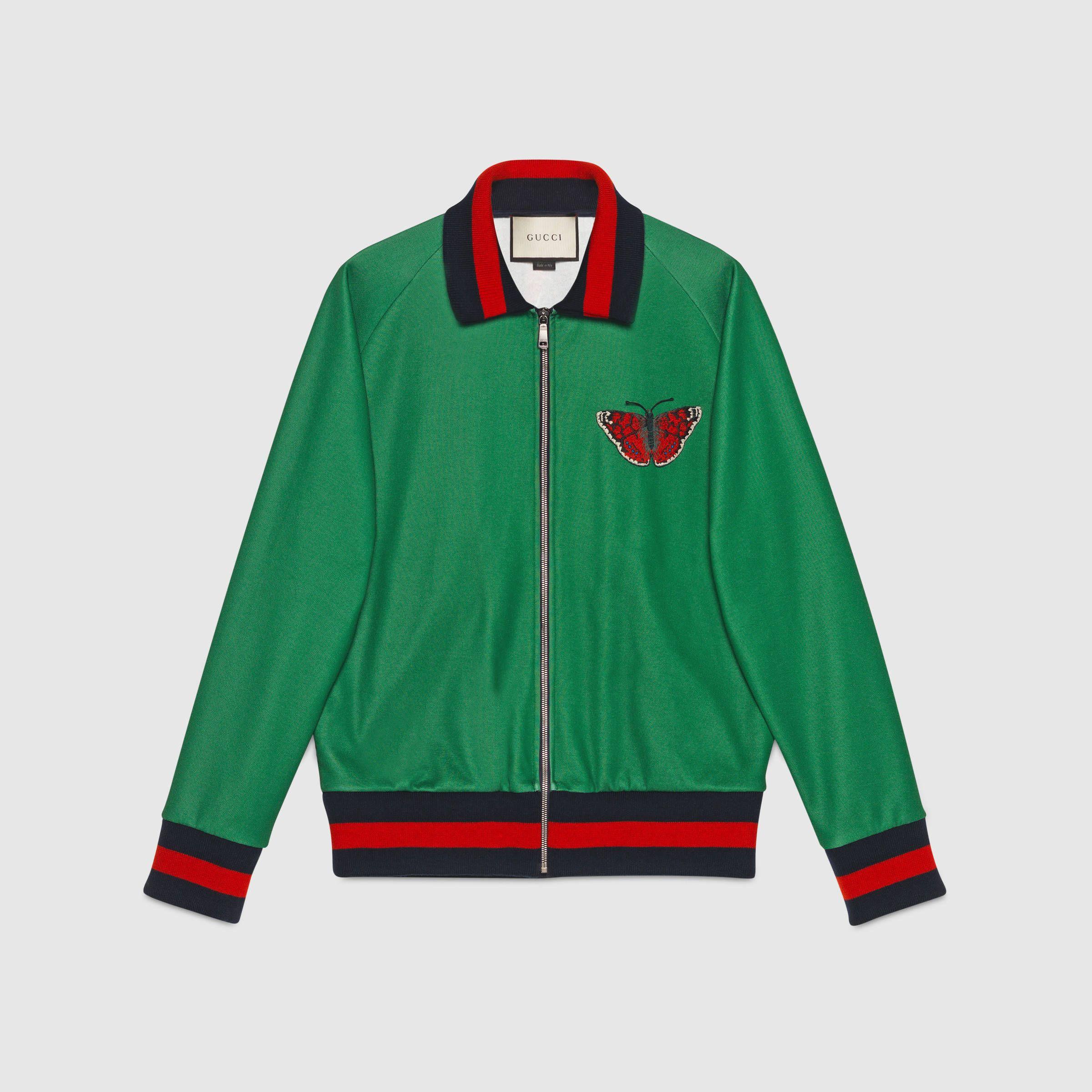 vendita calda online 72a16 eb5e4 Gucci Uomo - Giacca in jersey con stampa web e serpente ...