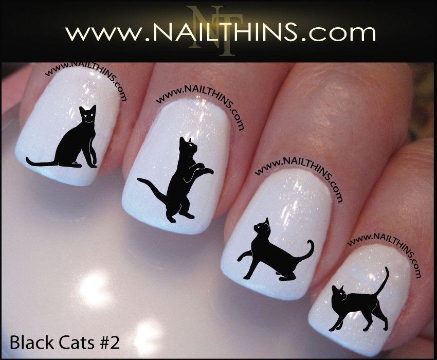 Black Cat Nail Decals set number 2 Nail Art Designs   Cat nails ...