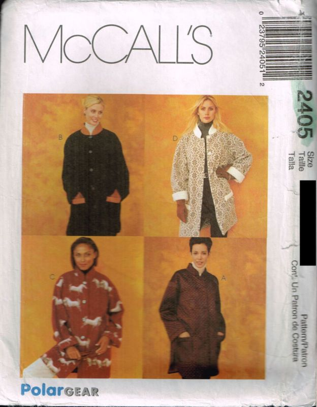 2405 Sewing Pattern Ladies Unlined Barn Jacket L XL ...