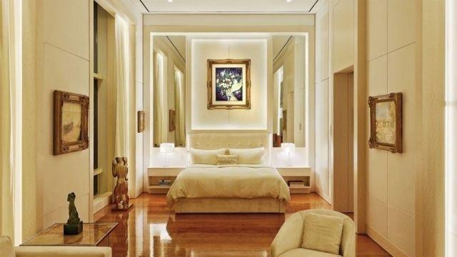 kleines schlafzimmer optisch vergrößern beleuchtung wandspiegel ...