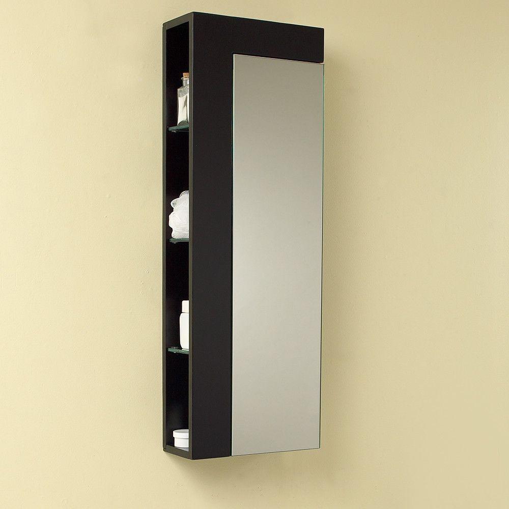 Fresca Espresso Bathroom Linen Side Cabinet W Large Mirror Door