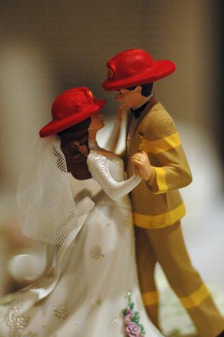 female fire fighter wedding cake topper Firefighter