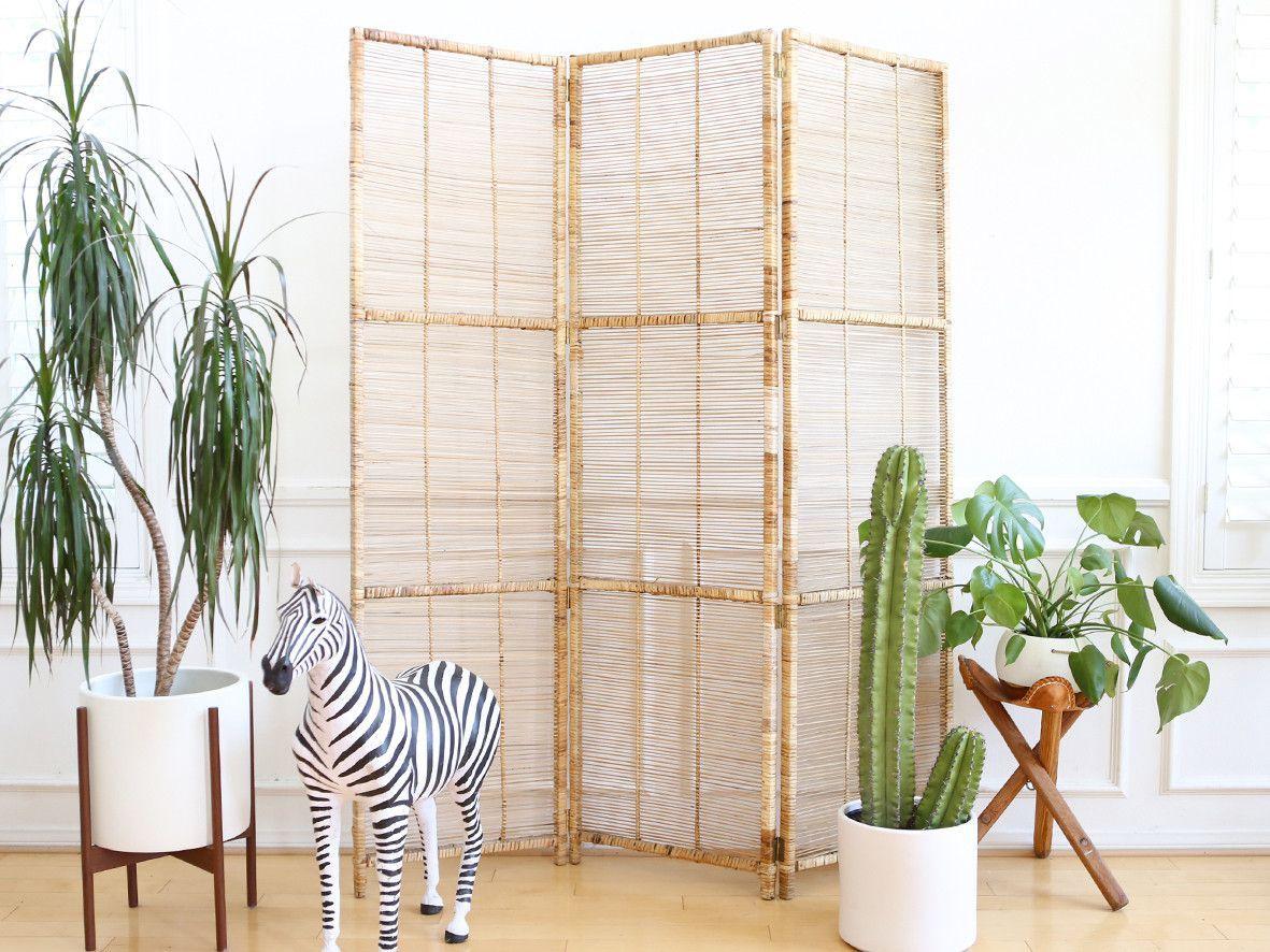 Vintage bamboo u rattan folding screen room divider no