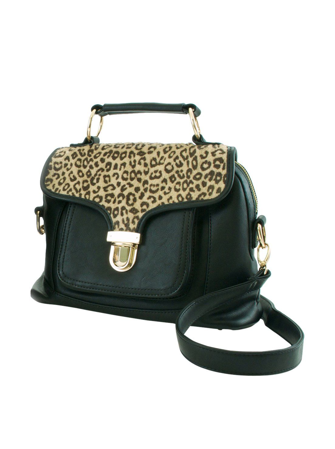 Adrienne Landau Cheetah Print Front Pocket Satchel (Black). Faux cheetah fur. Soft synthetic leather. Top flap with push lock. Main zip compartment. Large front pocket.